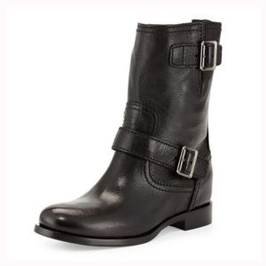 Prada double buckle flat black moto boots